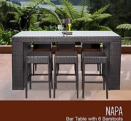 TK Classics Napa Bar Table Set With Backless Barstools 7 Piece Outdoor Wicker Patio Furniture