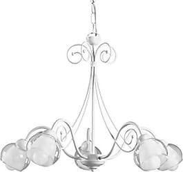 ONLI Lampadario 5 luci in Metallo Bianco con Farfalle Rosa