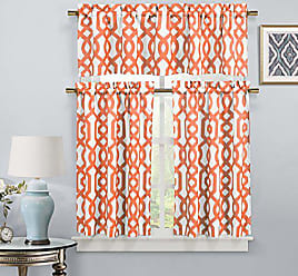 Duck River Textile s - Ashmont Geometric Canvas Textured Kitchen Tier & Valance Set | Small Window Curtain for Cafe, Bath, Laundry, Bedroom - (Orange)