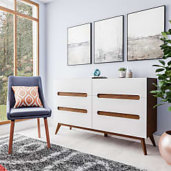 Carson Carrington Sundsvall Mid-century White and Walnut 6-drawer Chest (Chest-White and Brown)