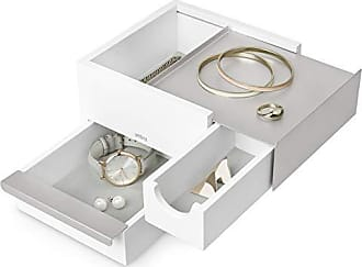 Umbra Mini Stowit Jewelry Box-Modern Keepsake Storage Organizer with Hidden Compartment Drawers for Ring, Bracelet, Watch, Necklace, Earrings, and Accessories, White/Nickel