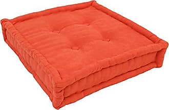 Blazing Needles Square Corded Floor Pillow with Button Tufts, 20, Tangerine Dream