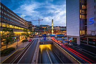 Noir Gallery Modern Junction at Night in Stockholm Canvas Wall Art - STHLM-05-TW-08