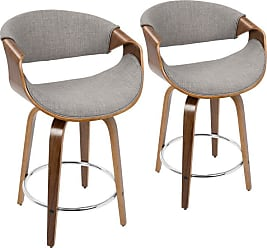 LumiSource Curvini 24 in. Solid Back Counter Stool - Set of 2 Gray - B24-CRVNIR WLLGY2