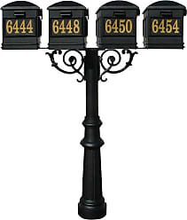 QualArc The Hanford Mailbox Post System Quad Post with Fluted Base 8 / Lewiston Mailboxes / Scroll Supports - HPWS4-800-LM