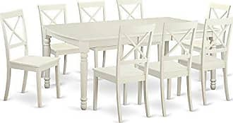 East West Furniture DOBO9-LWH-W 9 Piece Dining Room Table and 8 Dinette Chairs