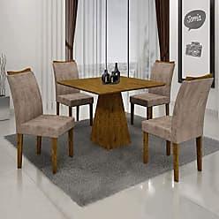Leifer Conjunto Sala de Janta Mesa Quadrada Itália 4 Cadeiras Pampulha Leifer Canela/Canela/Capuccino