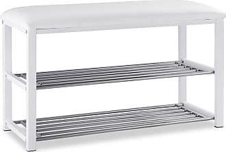 Costway 2 Tier Entryway Metal Soft Seat Shoe Rack Bench
