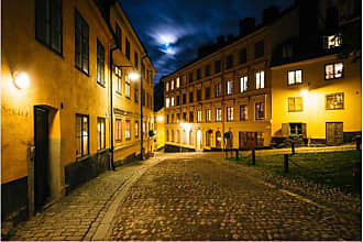 Noir Gallery Cobblestone Street at Night in Stockholm Wall Art - TO-01-TW-08