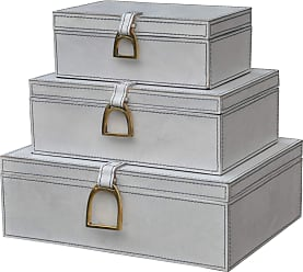 Dimond Home Nested White Leather and Brass Boxes