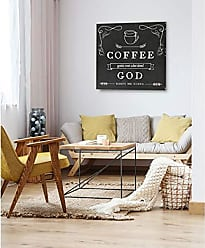 WEXFORD HOME Coffee Gets Me Started Gallery Wrapped Canvas Wall Art, 10x10