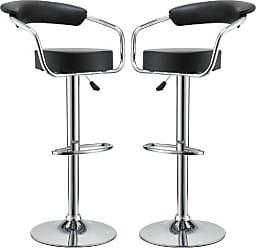 ModWay Modway Diner Retro Faux Leather Adjustable Bar Stools in Black - Set of 2