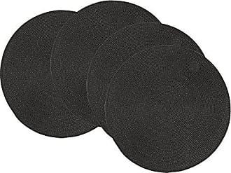 Now Designs Disko Round Placemats, Set of Four, Black