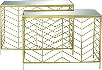 Deco 79 65498 Metal Glass Console Tables (Set of 2), 39 x 42