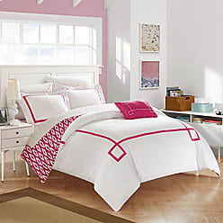 Chic Home 4 Piece Kendall Contemporary Greek Key Embroidered Reversible Queen Duvet Cover Set Fuchsia Shams and Decorative Pillows Included