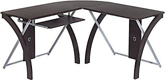 Office Star X-Text L-Shaped Computer Desk with Pullout Keyboard Tray, Espresso Finish Top with Silver Finish Accents