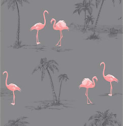 Brewster Home Fashions Sanibel Dark Gray Flamingo Wallpaper - 2704-41239SW