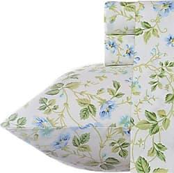 Revman International Laura Ashley Spring Bloom Pillowcase Sheet Set, Queen, Periwinkle