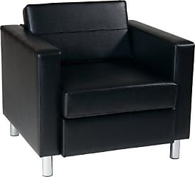 Office Star OSP Home Furnishings AVE SIX Pacific Vinyl Arm Chair with Spring Seats and Silver Metal Legs, Black