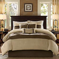 Madison Park Palmer 7 Piece Comforter Set - Natural - Queen - Pieced Microsuede - Includes 1 Comforter, 3 Decorative Pillows, 1 Bed Skirt, 2 Shams