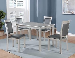 Round Hill Furniture Avignor 5 Piece Contemporary Dining Table Set - T215-C215-C215