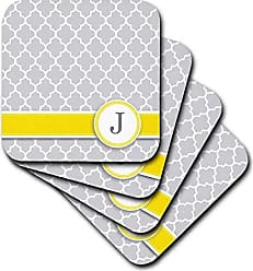 Personalized Yellow Gray Towel Monogrammed Grey Quatrefoil Pattern 3D Rose Your Name Initial Letter U Multicolor 15 x 22