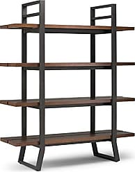 Simpli Home Simpli Home AXCADR-12 Adler Solid Wood and Metal 66 inch x 54 inch Modern Industrial Bookcase in Light Walnut Brown