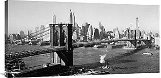 Bentley Global Arts Global Gallery GCS-375252-1836-142 Unknown Brooklyn Bridge With Manhattan Skyline 1930s Wall Art Gallery Wrap Giclee on Canvas Print