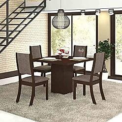 Viero Conjunto para Sala de Jantar Mesa e 4 Cadeiras Viero Dunia Choco/Canela
