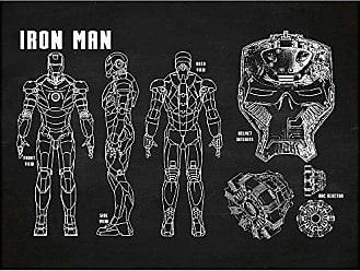 Inked and Screened SP_SYFI TD_CH_24_W Sci-Fi and Fantasy Iron Man Profile Print, Chalkboard-White Ink, 18 x 24