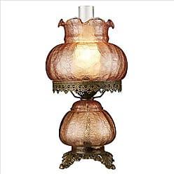 Design Toscano Art Nouveau Rose Court Victorian Style Hurricane Table Lamp, 16 Inch, Mauve Pink