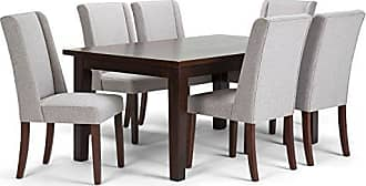 Simpli Home Simpli Home AXCDS7SB-CLG Sotherby Contemporary 7 Pc Dining Set with 6 Upholstered Dining Chairs and 66 inch Wide Table