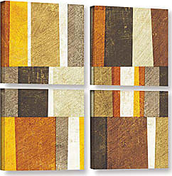 ArtWall Michael Mullans Neutral and Spice Abstract 4 Piece Gallery Wrapped Canvas Square Set 48 x 48