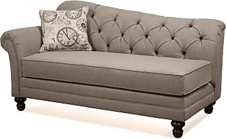 Round Hill Furniture Metropolitan Dark Beige Fabric Upholstery Wood Frame Chaise with Pillows - LHU8750C-AS