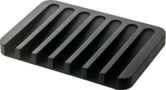 Yamazaki Home YAMAZAKI home Flow Soap Tray - Silicone Holder Dish for Sink, Black