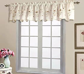 United Curtain Loretta Embroidered Sheer Shaped Valance, 52 by 18-Inch, Natural/Chocolate