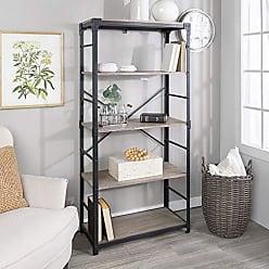 Walker Edison WE Furniture Angle Iron Bookshelf in Driftwood