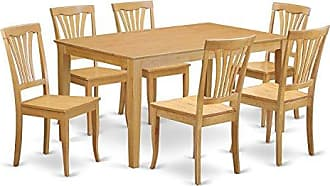 East West Furniture CAAV7-OAK-W 7 Pc Dining Room Set - Dining Table and 6 Dining Chairs