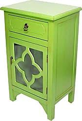 Heather Ann Creations Standing Single Drawer Distressed Cabinet, 30 x 18, Lime Green