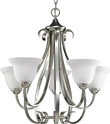 PROGRESS P4416-09 Five-light chandelier in Brushed Nickel finish with etched white glass