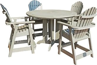 highwood Hamilton Recycled Plastic 5 Piece Round Counter Height Adirondack Patio Dining Set