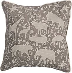 Jaipur Animal Print Pattern Gray/Ivory Cotton Polly Fill Pillow, 20-Inch x 20-Inch, Simply Taupe NG-13