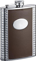Visol Products Visol Alan Leatherette Stainless Steel Liquor Flask, 8-Ounce, Brown