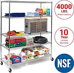 Seville Classics UltraDurable Commercial-Grade 5-Tier NSF-Certified Steel Wire Shelving with Wheels, 60 W x 24 D, Chrome