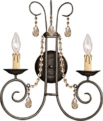 Crystorama 5202-DR-GTS SOHO Natural Wrought Iron Wall Sconce Accented with Golden Teak Swarovski Elements Polished Crystal