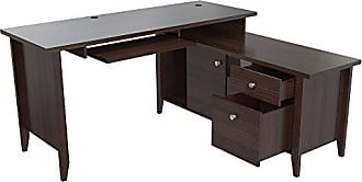 Inval America ET-4315 L Shaped Computer Writing Desk, Brown