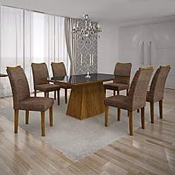 Leifer Conjunto Sala de Jantar Mesa Tampo MDF/Vidro Preto 6 Cadeiras Pampulha Leifer Canela/Linho Marrom
