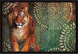 EAZL Modern Safari Tiger Jungle Cat with Abstract Pattern Painting Orange & Green, Framed Canvas Art by Pied Piper Creative