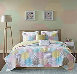Urban Habitat Trixie Twin/Twin XL Bedding for Girls Quilt Set - Pink Yellow Teal, Geometric - 4 Piece Kids Girls Quilts - Cotton Quilt Sets Coverlet