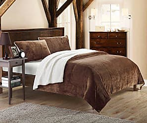 Chic Home 3-Piece Evie Plush Microsuede Sherpa Blanket, King, Brown